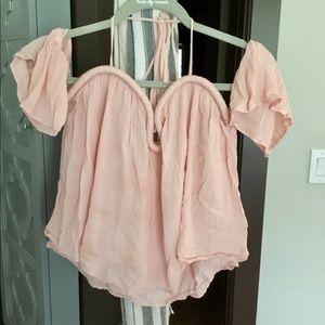 Light pink off the shoulder blouse